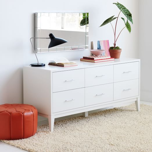 Narrow leg 6 drawer dresser white west elm for Narrow dressing table with drawers