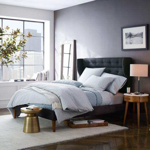 James harrison bed tweed west elm - Bed elm massief ...