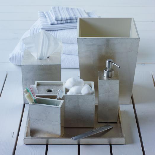 Lacquer Bath Accessories Silver West Elm