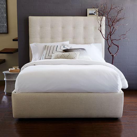 pivot storage bed frame oatmeal west elm. Black Bedroom Furniture Sets. Home Design Ideas