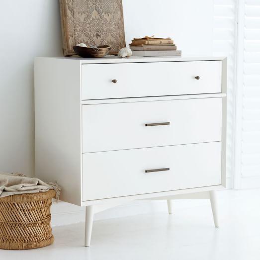 mid century 3 drawer dresser white west elm. Black Bedroom Furniture Sets. Home Design Ideas