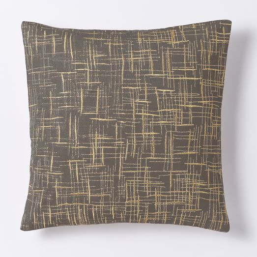 Mid Century Pillow Covers : Mid-Century Embroidered Crosshatch Pillow Cover - Slate west elm