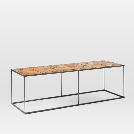 Faceted Copper Coffee Table: Faceted Wood Coffee Table