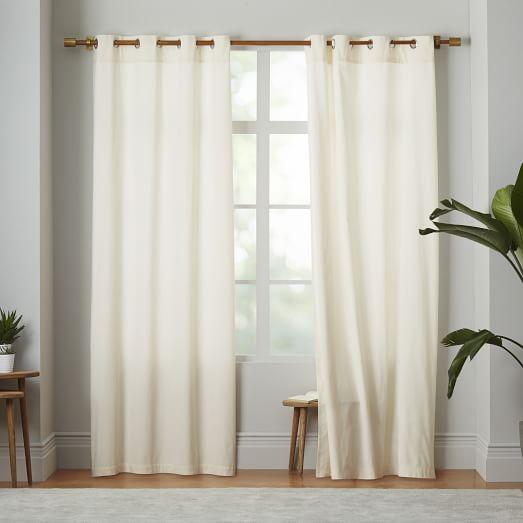 Velvet Grommet Curtain Ivory West Elm