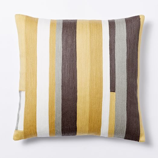 Crewel Modern Stripes Pillow Cover - Desert Marigold west elm