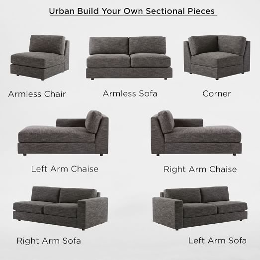 build your own urban sectional pieces west elm. Black Bedroom Furniture Sets. Home Design Ideas