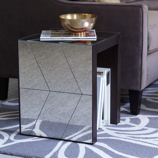 Herringbone Mirror Side Table West Elm