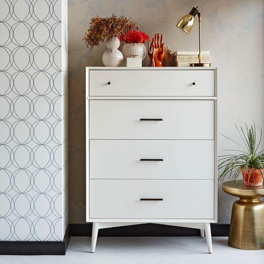 mid century 4 drawer dresser white west elm. Black Bedroom Furniture Sets. Home Design Ideas