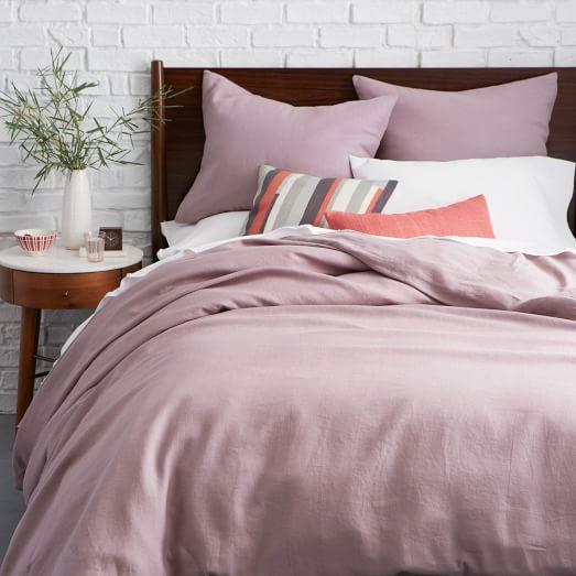 belgian flax linen duvet cover light amethyst west elm. Black Bedroom Furniture Sets. Home Design Ideas