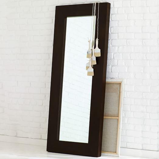 Chunky Wood Floor Mirror Chocolate West Elm