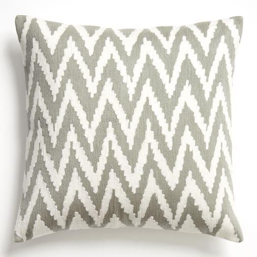 chevron crewel pillow cover platinum west elm. Black Bedroom Furniture Sets. Home Design Ideas