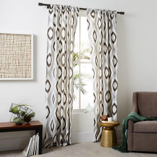 West elm ikat curtains - Cotton Canvas Ikat Diamond Curtain Slate West Elm