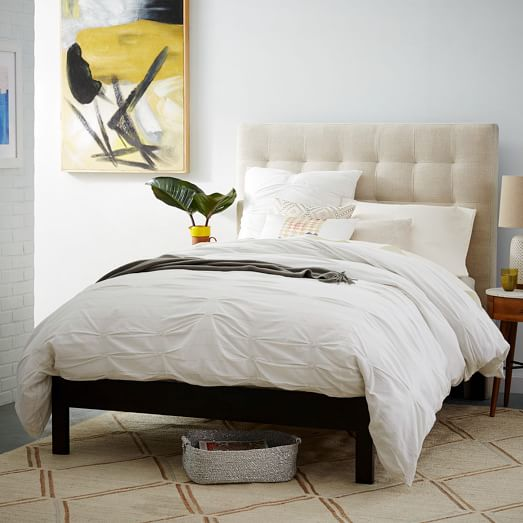 Grid tufted simple bed pebble weave west elm for Simple headboards