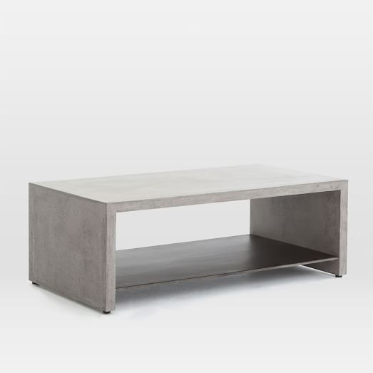 Industrial concrete coffee table west elm for Concrete coffee table