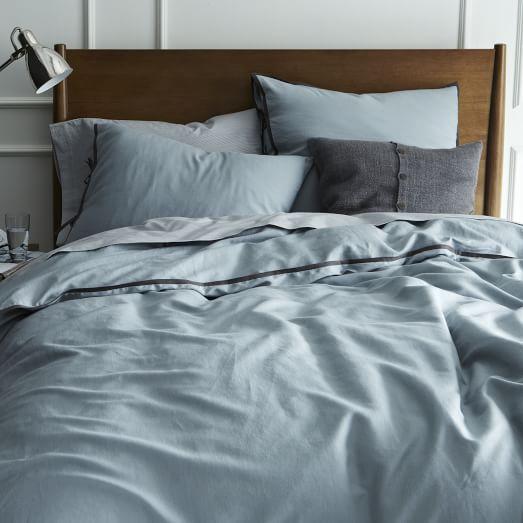 Linen Cotton Blend Duvet Cover Shams Dusty Blue West Elm