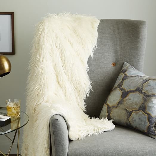 faux mongolian lamb throw ivory west elm. Black Bedroom Furniture Sets. Home Design Ideas
