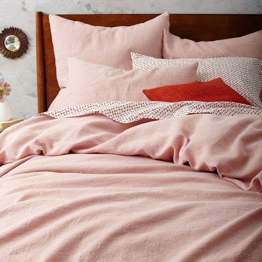 belgian flax linen duvet cover shams rosette west elm. Black Bedroom Furniture Sets. Home Design Ideas