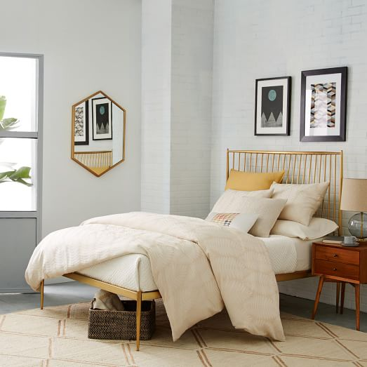 Small Apartment Bedroom West Elm Bedroom Ideas Bedroom Design Houzz Lighting Ideas For Bedroom: Stella Metal Bed - Brass