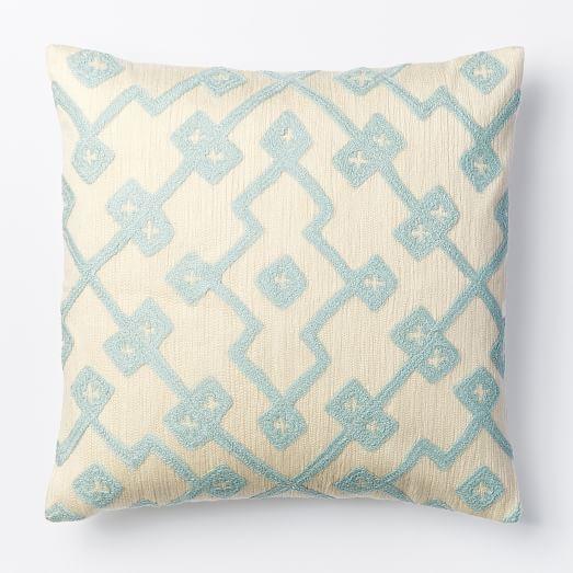 Crewel Lattice Pillow Cover - Pale Harbor west elm