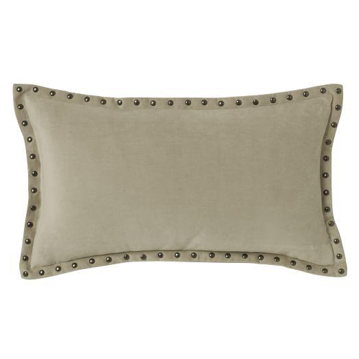 studded velvet pillow cover putty 12 x21 west elm. Black Bedroom Furniture Sets. Home Design Ideas