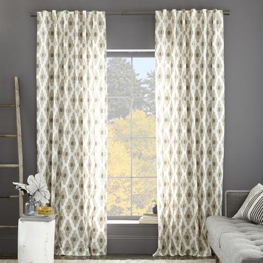 Cotton Canvas Bazaar Curtain Flax West Elm