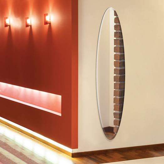 Thin oval wall mirror west elm for Skinny wall mirror