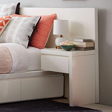storage bed nightstand white west elm. Black Bedroom Furniture Sets. Home Design Ideas