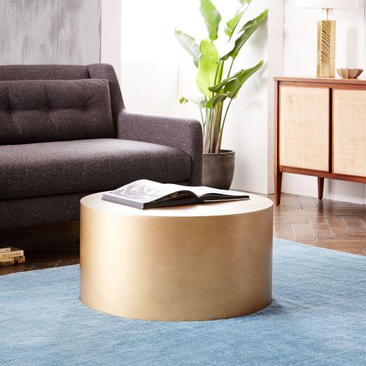 metal drum coffee table west elm With west elm drum coffee table