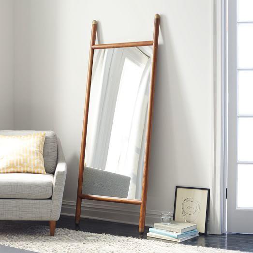 Mid century dowel mirror pecan west elm for Full length mirror in living room