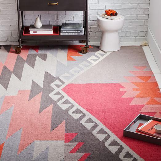 Sivas Wool Kilim Rug - Macaroon Pink