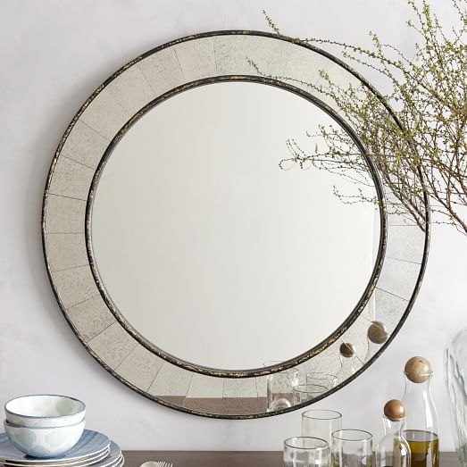 Antique tiled round mirror west elm for Round mirror