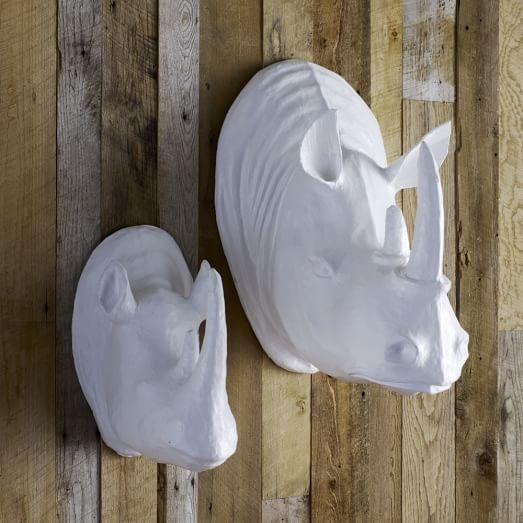 Papier mache animal sculpture rhinos west elm for Papier mache art for sale