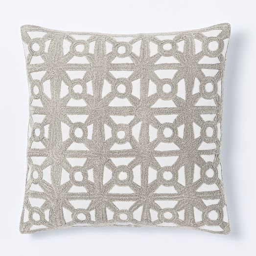 Modern Crewel Pillow : Modern Crewel Lattice Pillow Cover - Platinum west elm