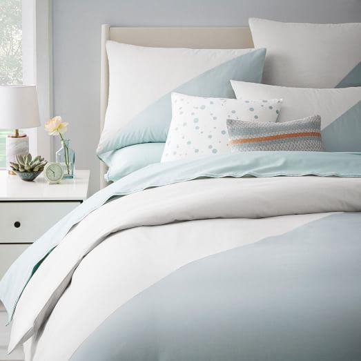 chambray diagonal duvet cover shams west elm. Black Bedroom Furniture Sets. Home Design Ideas