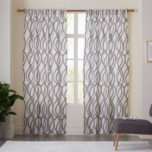Scribble Drawing Room : Cotton canvas scribble lattice curtain set of