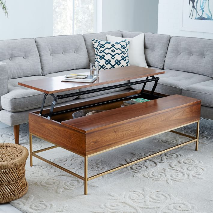 storage coffee table walnutantique brass west elm buy west elm industrial storage coffee table