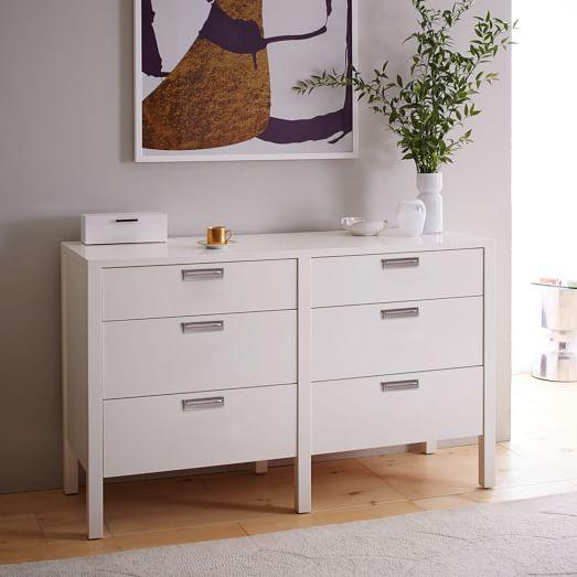 jones 6 drawer dresser white lacquer west elm. Black Bedroom Furniture Sets. Home Design Ideas