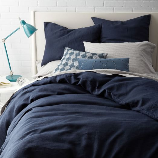 belgian flax linen duvet cover shams midnight west elm. Black Bedroom Furniture Sets. Home Design Ideas