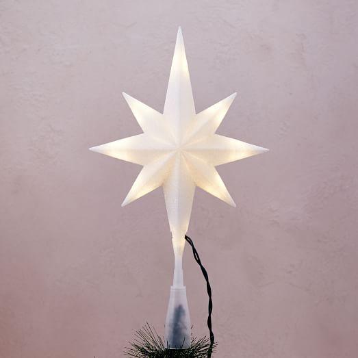 LED Light-Up Star Tree Topper - White west elm