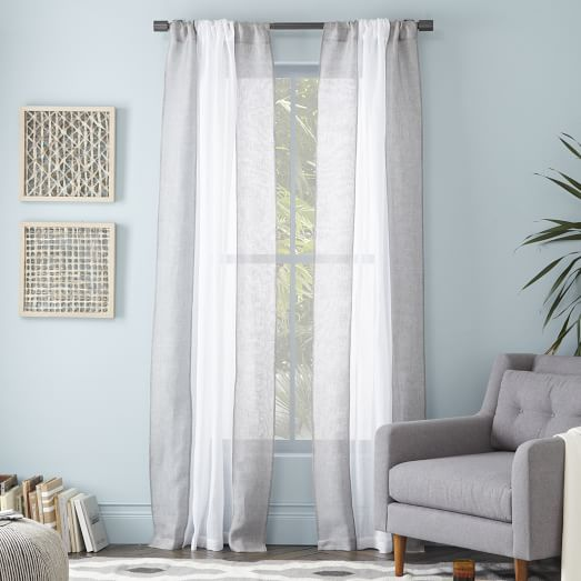 colorblock linen curtain white feather gray west elm. Black Bedroom Furniture Sets. Home Design Ideas