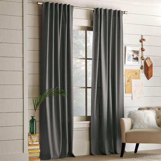 Cotton Canvas Pole Pocket Curtain Steel West Elm