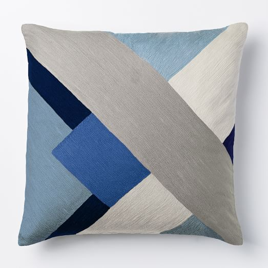 Modern Crewel Pillow : Crewel Modern Blocks Pillow Cover - Larkspur west elm