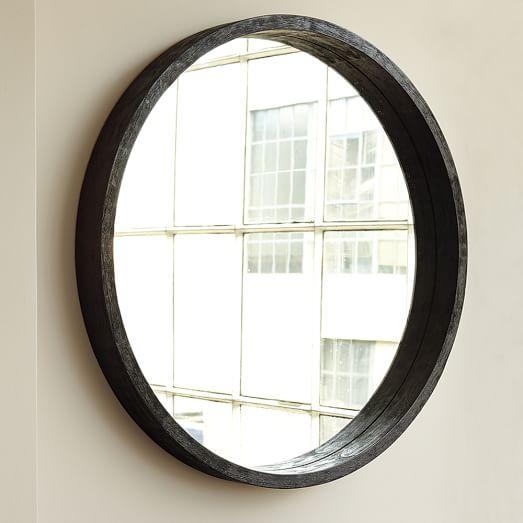 Round Mango Wood Mirror West Elm