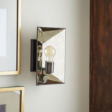faceted mirror sconce west elm. Black Bedroom Furniture Sets. Home Design Ideas