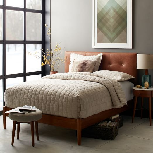 Mid-Century Leather Button Tufted Bed - Saddle