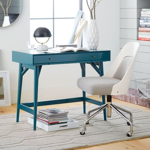 mid century mini desk thai blue west elm. Black Bedroom Furniture Sets. Home Design Ideas