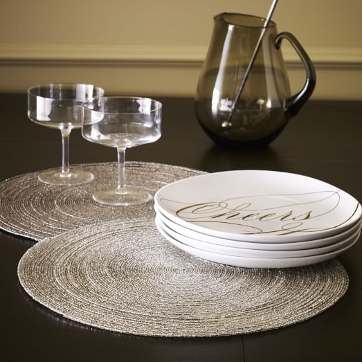 Beaded placemat set west elm for Glass table placemats