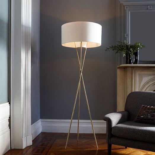 mid century tripod floor lamp antique brass west elm. Black Bedroom Furniture Sets. Home Design Ideas