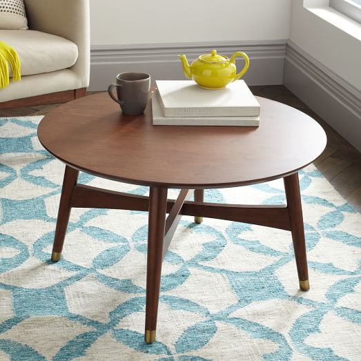 Mid Century Modern Round Coffee Tables: Reeve Mid-Century Coffee Table - Walnut