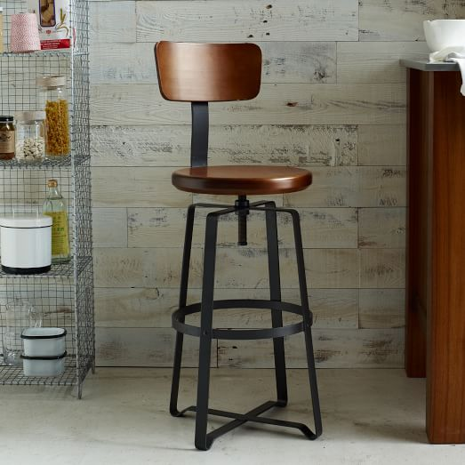 Industrial Wood Adjustable Seat Barstool High Chair: Adjustable Rustic Industrial Stool - With Back
